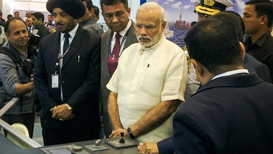 Indian PM Modi visits Elcome stand at IFR